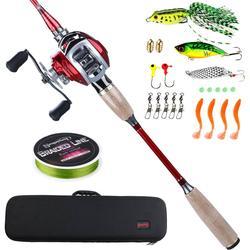 Sougayilang Baitcsting Rod Full Kit 4 Section M Power Carbon Fiber Casting Reel Set 100M Fishing Line Lures Hooks Combo Pesca