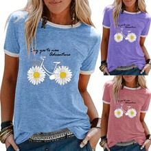 Camiseta Mulheres Verão Girassol Bicicleta Impressão Tshirt 2020 Ocasional Das Senhoras de Manga Curta Camiseta Feminina Casual Túnica Tops 2020 nova