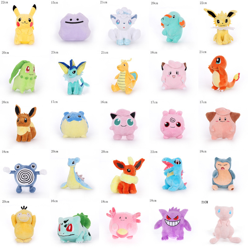12pcs/lot Jigglypuff Charmander Gengar Bulbasaur Squirtle Peluche Pikachu Plush Toys EEVEE For Children Pikachu Soft Doll Anime