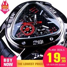 Reloj de pulsera automático de lujo para hombre, de cuero genuino, con diseño geométrico de carreras de deporte de Jaragar