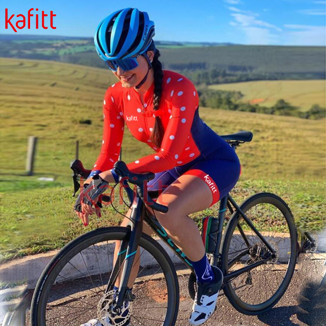 Kafitt calças de ciclismo das mulheres long-sleeved macacão bicicleta terno da bicicleta de estrada mountain bike terno profissional moletom ciclismo 2