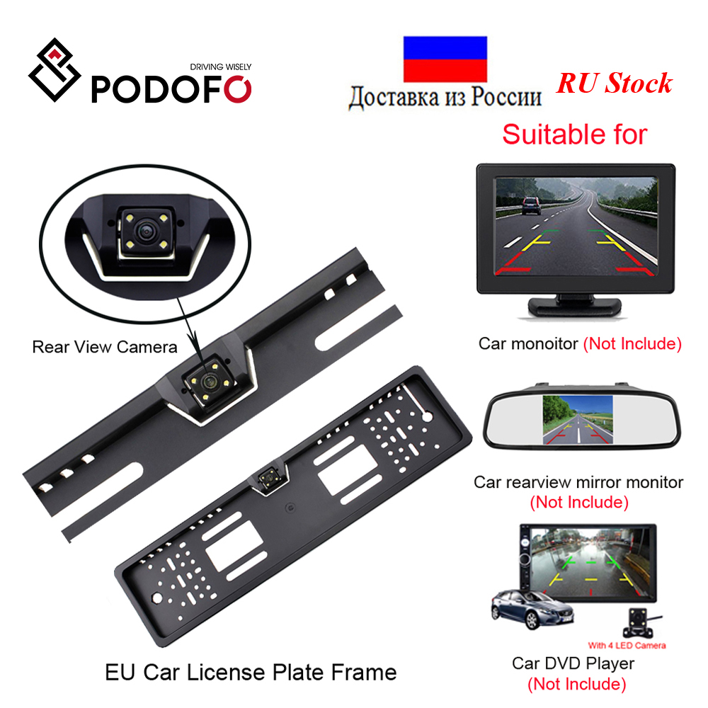 Podofo Car Rear View Camera Waterproof EU European License Plate Frame Parktronic Reverse 4 LED Night Vision Backup Camera|night vision backup camera|rear view camerarear view camera waterproof - AliExpress