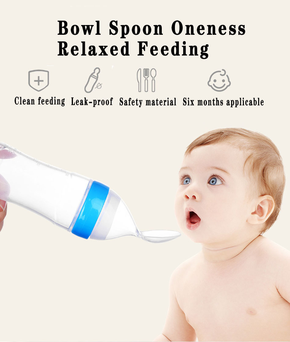 Baby Safety Silicone Milk Bottle Squeeze Spoon Toddler Food Supplement Bottle Rice Cereal Paste Training Feeder Tableware Tools