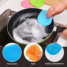 Household Food Grade Silica Gel Cleaning Brush for Kitchen Dishwashing, Fruit and Vegetable Cleaning Brush