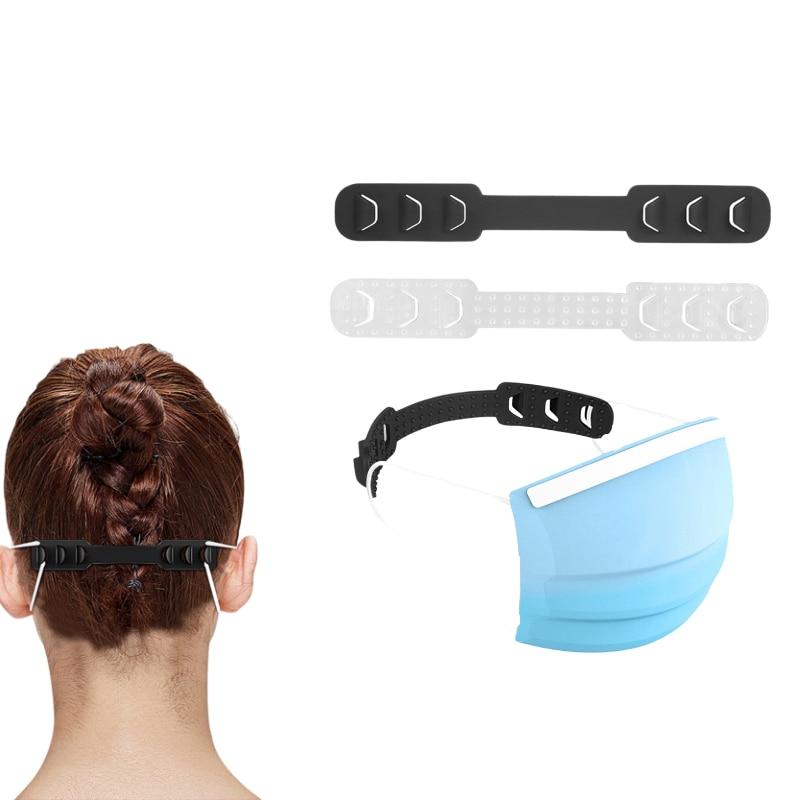 2 Pcs TPU Soft Face Mask Hooks Buckle Black/transparent Mask Extension Clasp Adjustable Lengthened Mask Rope Prevent Ear-pulling