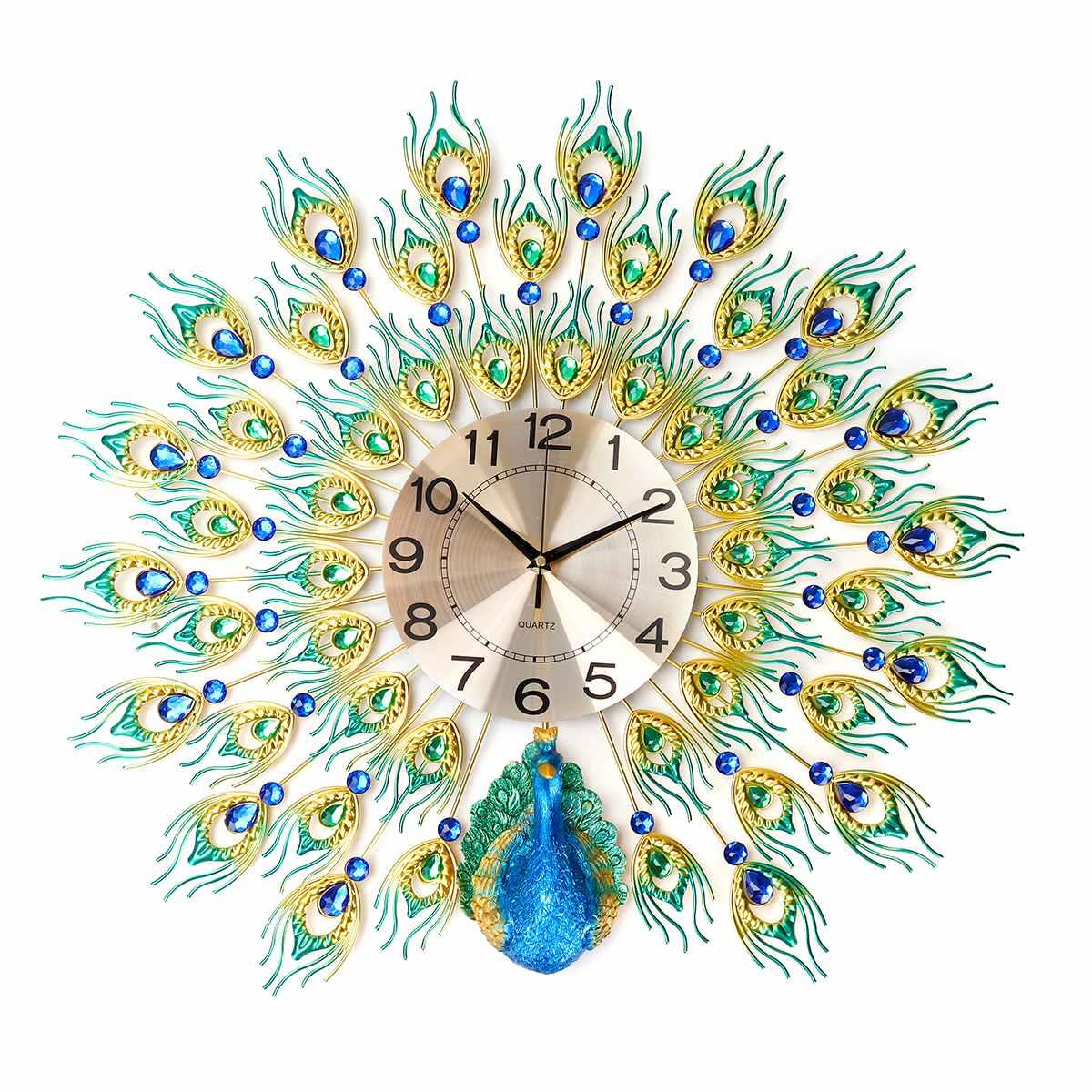 70x70cm bricolage 3D grand paon horloge murale en métal cristal diamant horloges montre ornements maison salon décoration artisanat cadeau - 2