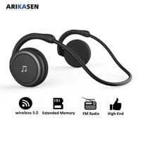 Arikasen Bluetooth trasduttore auricolare di sport del Giocatore di MP3 Auricolare FM Radio di memoria estesa lettore cuffia senza fili bluetooth cuffia con microfono
