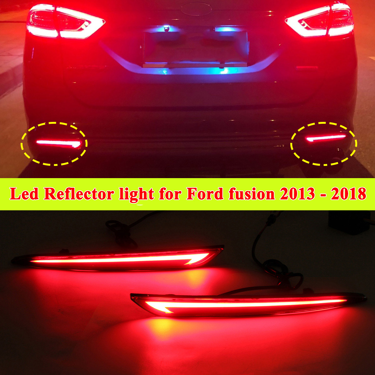 A Pair LED Rear Reflector <font><b>3</b></font> Function DRL Brake Turn signal Light For Ford Mondeo Fusion 2013 2014 2015 <font><b>2016</b></font> 2017 2018 Car Lamp image