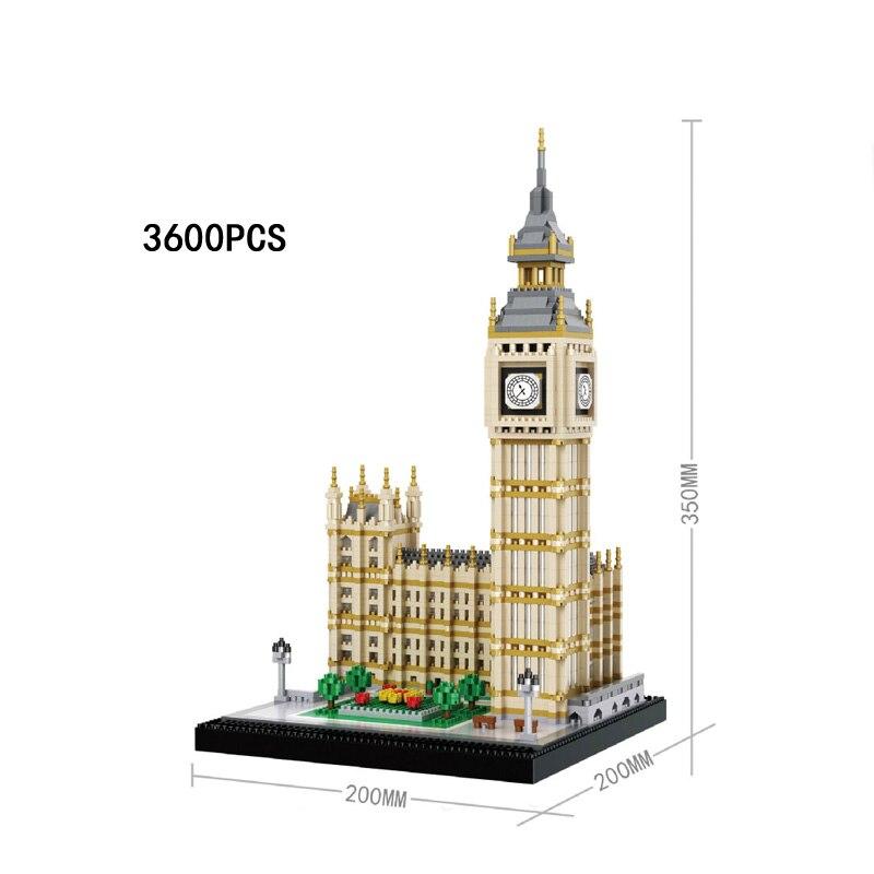 Grande-bretagne célèbre architecture big ben nano brique Elizabeth tour londres angleterre micro diamant bloc de construction modèle jouets