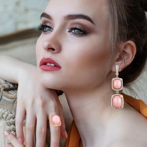 Image 2 - Женский комплект украшений с опалом, кольцо и сережки из серебра 925 пробы с натуральным розовым опалом и изумрудом, 2020