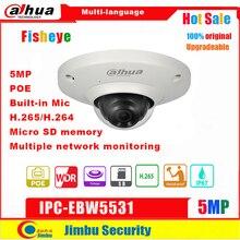 Dahua cámara IP de ojo de pez, 5MP, IPC EB5531, red PoE, H.265, lente de 1,4mm, IVS, micrófono incorporado, tarjeta Micro SD, IP67, varios idiomas