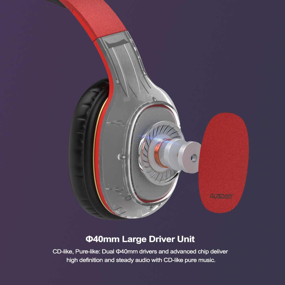 AUSDOM M09 najnowsze słuchawki bezprzewodowe słuchawki stereofoniczne z obsługą mikrofonu karty TF słuchawki Bluetooth dla muzyki zestaw słuchawkowy telefonu