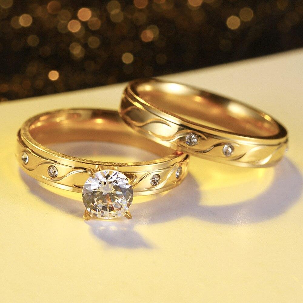 FS1356 Vergoldeten Titan Stahl Ring mit Runde Große Zirkon Set Ring - 2