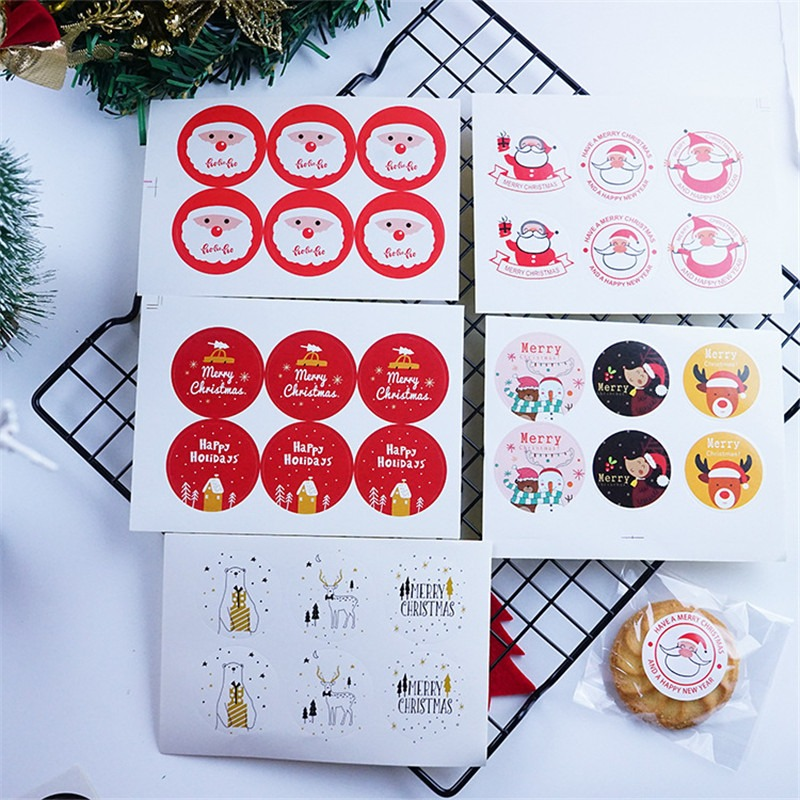 Round Merry Christmas Stickers Santa Claus Elk Snowman Packaging Sealing Label Kraft Sticker Baking DIY Gift Stickers