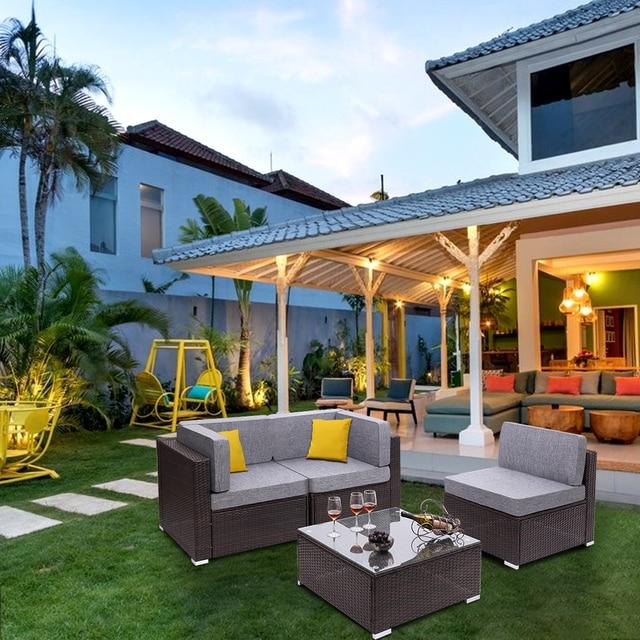 4 Pieces Patio PE Wicker Rattan Corner Comfortable Breathable Sofa Set For Home Living Room Bedroom Decoration 5
