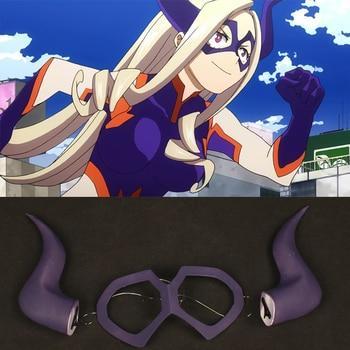 Anime My Hero Academia Mt.Lady Horn klips do włosów przebranie na karnawał nakrycia głowy rekwizyty okulary stroik Halloween akcesoria karnawałowe
