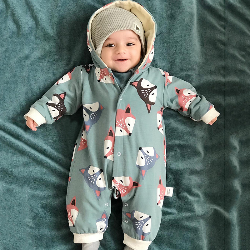 2020 New Spring Cartoon Fox Baby Long Sleeve Romper Cute Romper Baby Girl Clothes Solid Babygirl Onesie New Born Baby Boy Romper