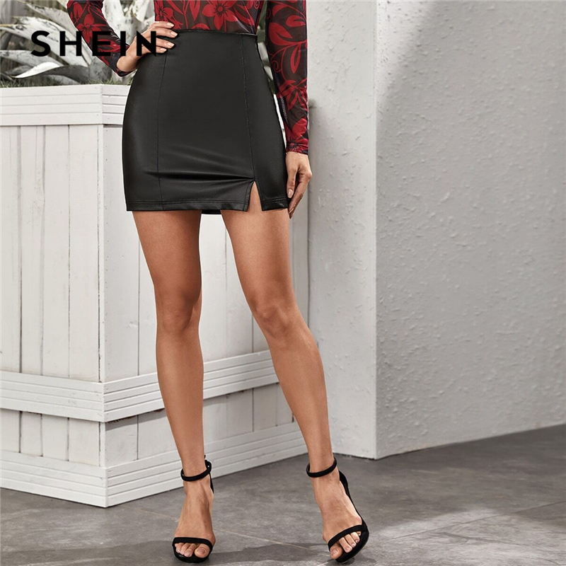 SHEIN Black Slit Hem Leather Look Bodycon Sexy Skirt Women Bottoms 2020 Spring Zipper Back Ladies Fitted Glamorous PU Skirts