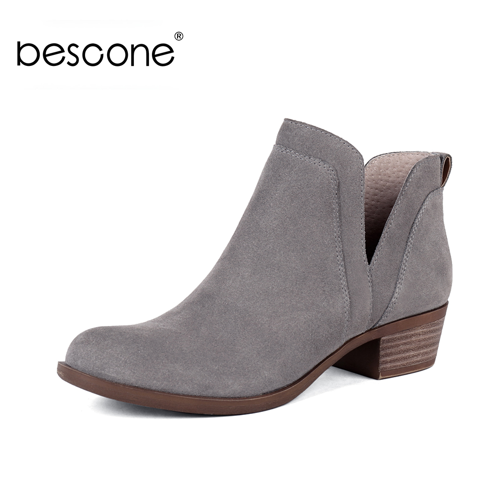 BESCONE Casual Mixed Colors Square Heel Ladies Boots Round Toe Handmade Shoes Basic 4 cm Med Women Ankle BY22