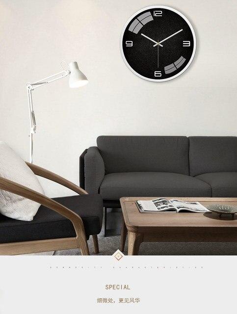 미니멀리스트 북유럽 벽시계 아트 블랙 침묵 현대 금속 벽시계 크리 에이 티브 간단한 거실 Wandklok 홈 장식 AB50WC