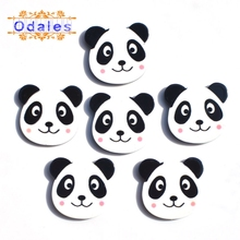 10Pcs/lots Cute Chinas Treasure Panda Resin Decoration Flatback Button for DIY Crafts Supplies Animal Clips Bow Center Accessoy