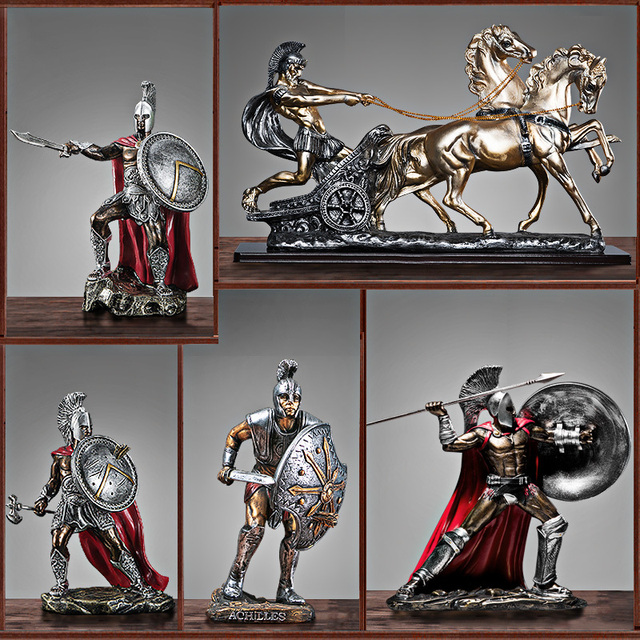 Ancient Rome Ornament Retro Spartan Character Model Resin Craft Figurines Home Decor Spartan Warrior Statue Figure Decorate Gift 4