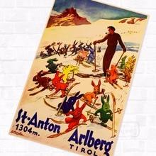 Esquí en St Anton Arlberg Tirol Vintage Retro Kraft póster de viaje lienzo DIY pegatina de pared hogar Bar arte decoración de carteles