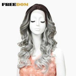 Image 1 - חופש שיער סינטטי פאה עבור נשים 24 אינץ תחרה מול פאות לנשים שחורות ארוך Loose גל חום עמיד סינטטי שיער פאות