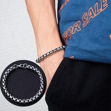 RINHOO – Bracelet en acier inoxydable pour hommes, boîte carrée, gourmette cubaine, chaîne à maillons, Punk, cadeau, bijoux, largeur 6mm
