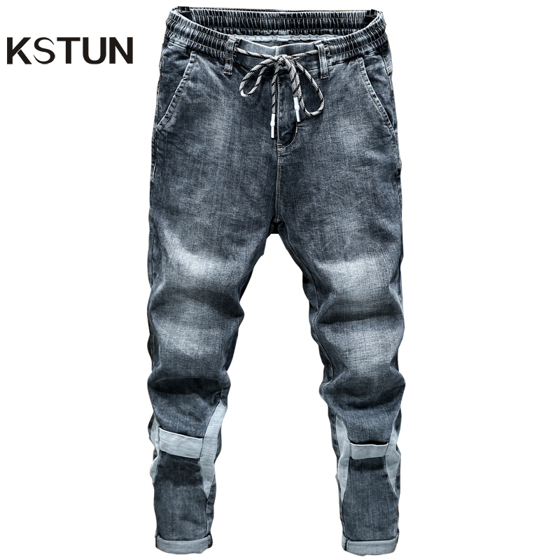 KSTUN Jeans For Men Blue Gray Loose Fit Patched Elastic Waist Leisure Good Quality Men's Clothes Trousers Denim Pants Cowboys