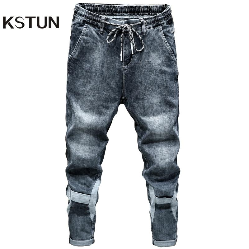 KSTUN Jeans for Men Blue Gray Loose Fit Patched Elastic Waist Leisure Good Quality Men's Clothes Trousers Denim Pants Cowboys