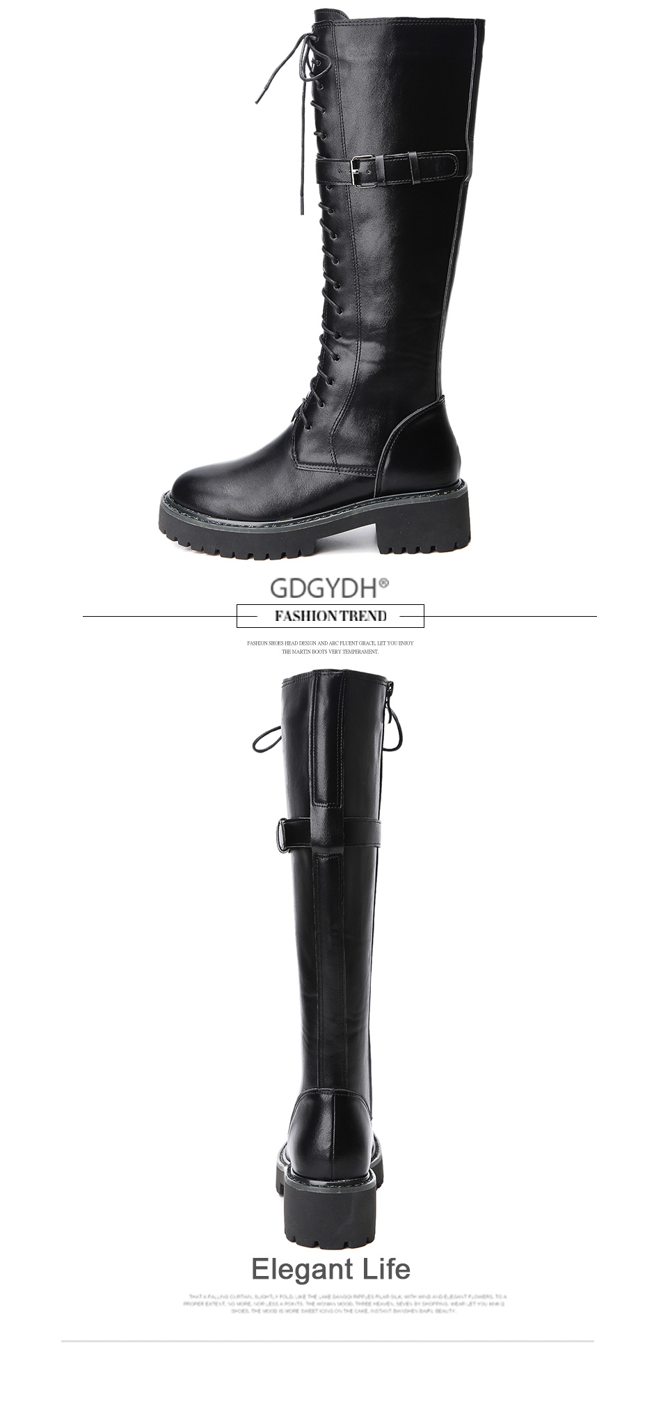 lace-up female buckle boots