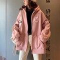 Frühling Herbst Mit Kapuze Bestickt Sweatshirt Frauen Rosa Langarm Zipper Hoodies Zip-up Casual Übergroße Süße Jacken Damen