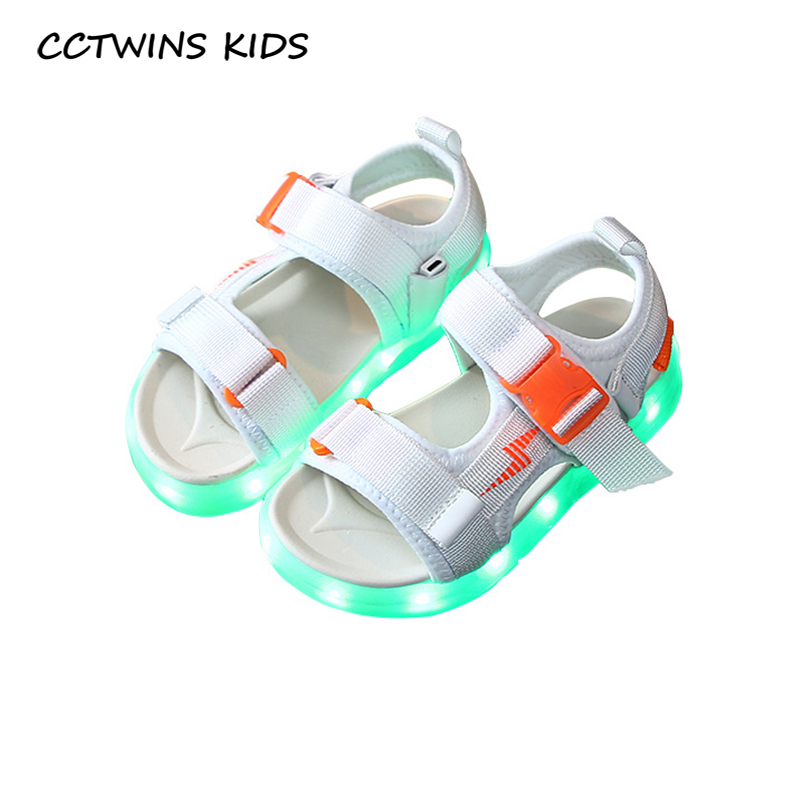 CCTWINS Kids Shoes 2020 Summer Childern Fashion Beach Sandals Baby Girls Led Light Shoes Boys Casual Shoes Flat Toddlers BL012