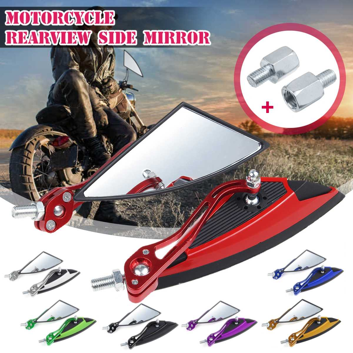 8mm Triangle ATV Off-road Pitbike Retroviseur Mirror Part Motorcycle Rearview Mirror Motorbike Side Moto Accessories Scooter image