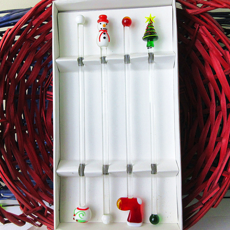 4pcs Hand made Christmas ornaments creative arts Murano glass cocktail swizzle stick cute Drink glass Stirring Mixing sticks