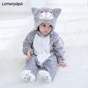 Image 3 - Baby Romper Charmmy kostium kota chłopiec dziewczyna Kawaii Onesie zamek z kapturem kreskówka zwierzęta noworodka maluch ubrania ciepłe miękkie