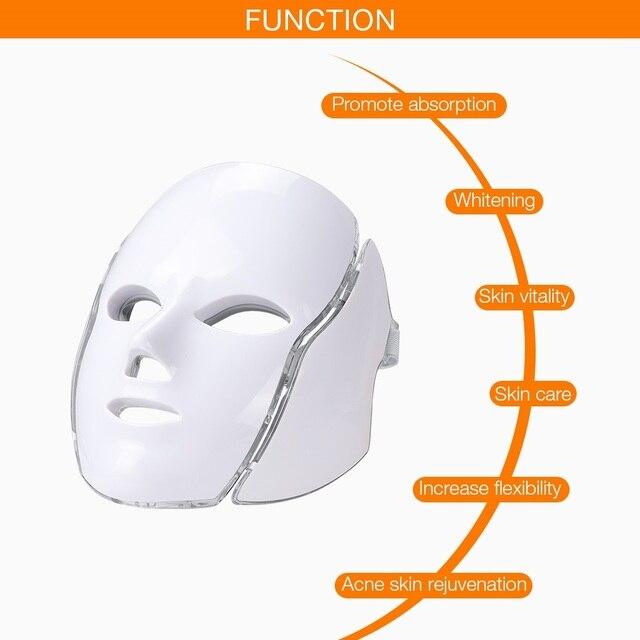 Led Face Mask 7 Color LED Facial Neck Mask with EMS Microelectronics LED Photon Mask Wrinkle Acne Removal Skin Rejuvenation 2