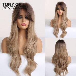Image 3 - ロング波状合成かつら黒人女性のためのアフリカ系アメリカ人オンブル茶色と自然な髪のかつら前髪耐熱コスプレかつら