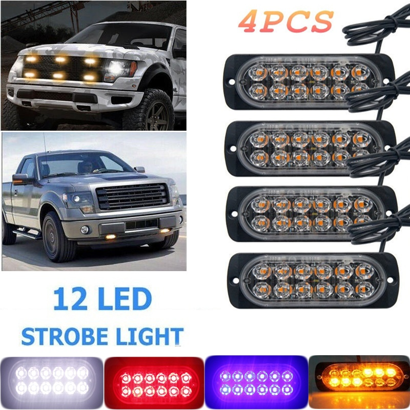 2/4pcs 12LED Strobe Car Light Truck Hazard Safety Urgent Ligh 36w Section Ultra-thin Side Light Glowing Car Warning Light