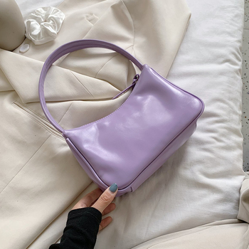 Fashion Solid Color PU Leather Shoulder Bags For Women 2020 Summer Simple Handbags And Purses Female Tote Bags Hot Purple