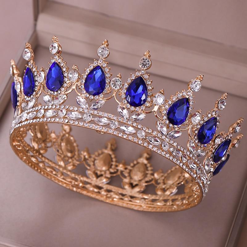 Blue cristal tiara\u2919Blue crystal headband\u2919Royal blue crystal crown\u2919Gold blue tiara\u2919Bridal royal blue crown\u2919Crystal wedding tiara