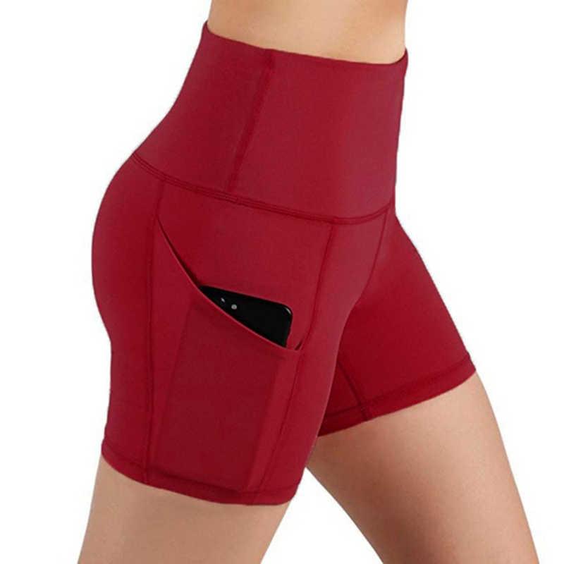 Femmes taille haute poche Yoga court course athlétique Yoga Shorts pantalons Leggings de gymnastique Leggings Sport femmes Fitness court