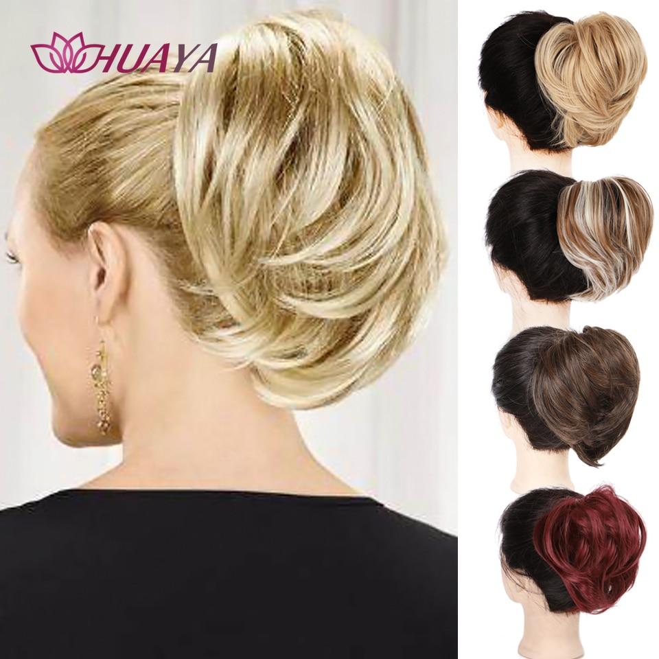 Эластичная пучок волос HUAYA, синтетическая резинка, Пончик-шиньон, растрепавшиеся удлинители волос, конский хвост, Обложка для женщин