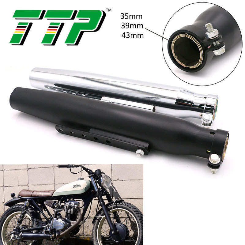 TTP Universal Motorcycle Exhaust Pipe Modified Motorbike Muffler Killer Silencer Vintage Rear Pipe Tail Tube 45.5CM 32CM|Mufflers| |  - title=