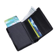 Automatic RFID Aluminium Wallets mens card wallet business credit card holder card wallet credit card holder id card holder(China)