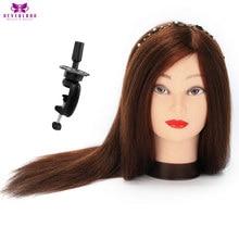 Neverland-Cabeza de maniquí para peluquería, cabeza de entrenamiento de pelo Real de 100% marrón, cabeza para formación en peluquería con soporte de abrazadera