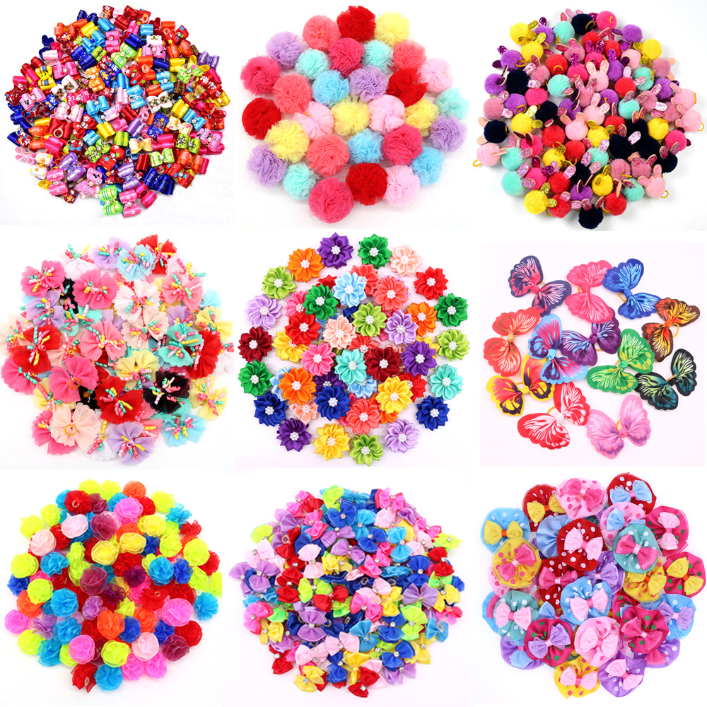 100PCS/Pack Choose Patterns Puppy Dog Small Hair Bows Pet Accessories Grooming for Yorkshir
