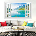 Lake Scenery Sea Of Flower Tree 3D Wall Art Pretend Window Design Canvas Painting Posters Pictures Prints Home Living Room Decor