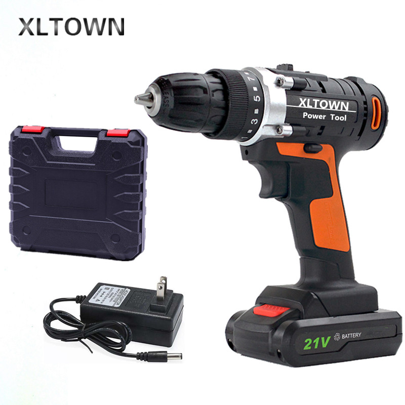 XLTOWN 21v Cordless Electric Drill Multifunction Rechargeable Lithium Battery Mini Electric Screwdriver Household Power Tools